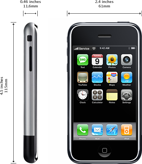 iPhone(原始機型)的尺寸