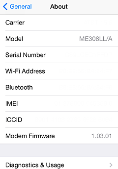 Find the serial number, IMEI, MEID, CDN, and ICCID number