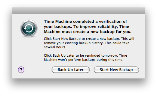 Dialog box asking to Start New Backup or Back Up Later