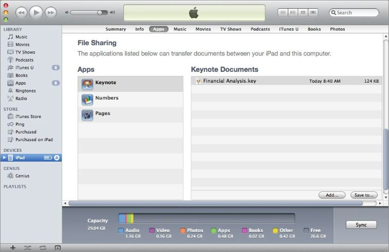Speater: File sharing (iTunes)