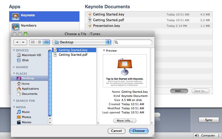 Copy to iPad dialog