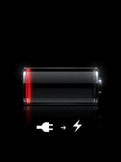 Símbolo de batería vacía con conector y rayo