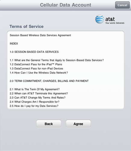AT&T Terms of Service Screenshot from Apple mobile deivce