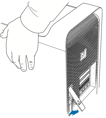 Lift the latch to release the side panel