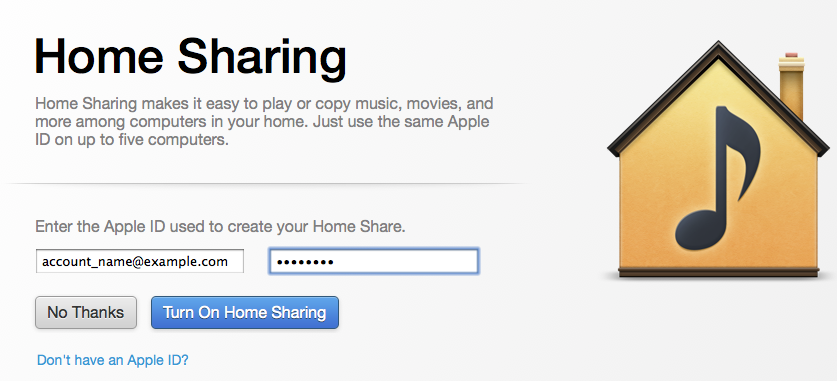 how to turn on home sharing on itunes on computer