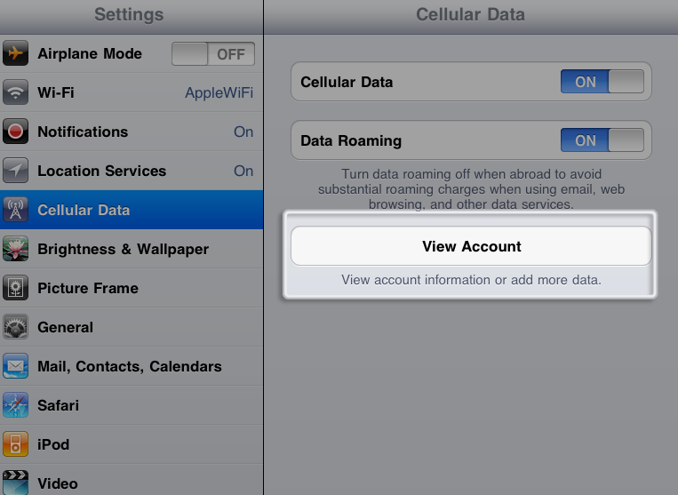 Cellular Data settings