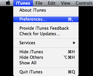 Mac iTunes preferences