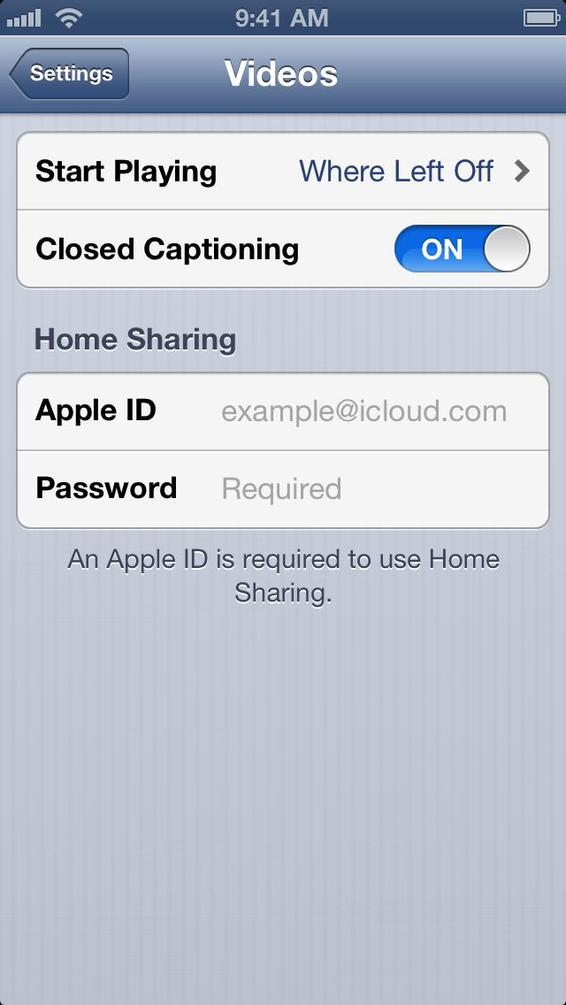 iOS closed captioning setting ON