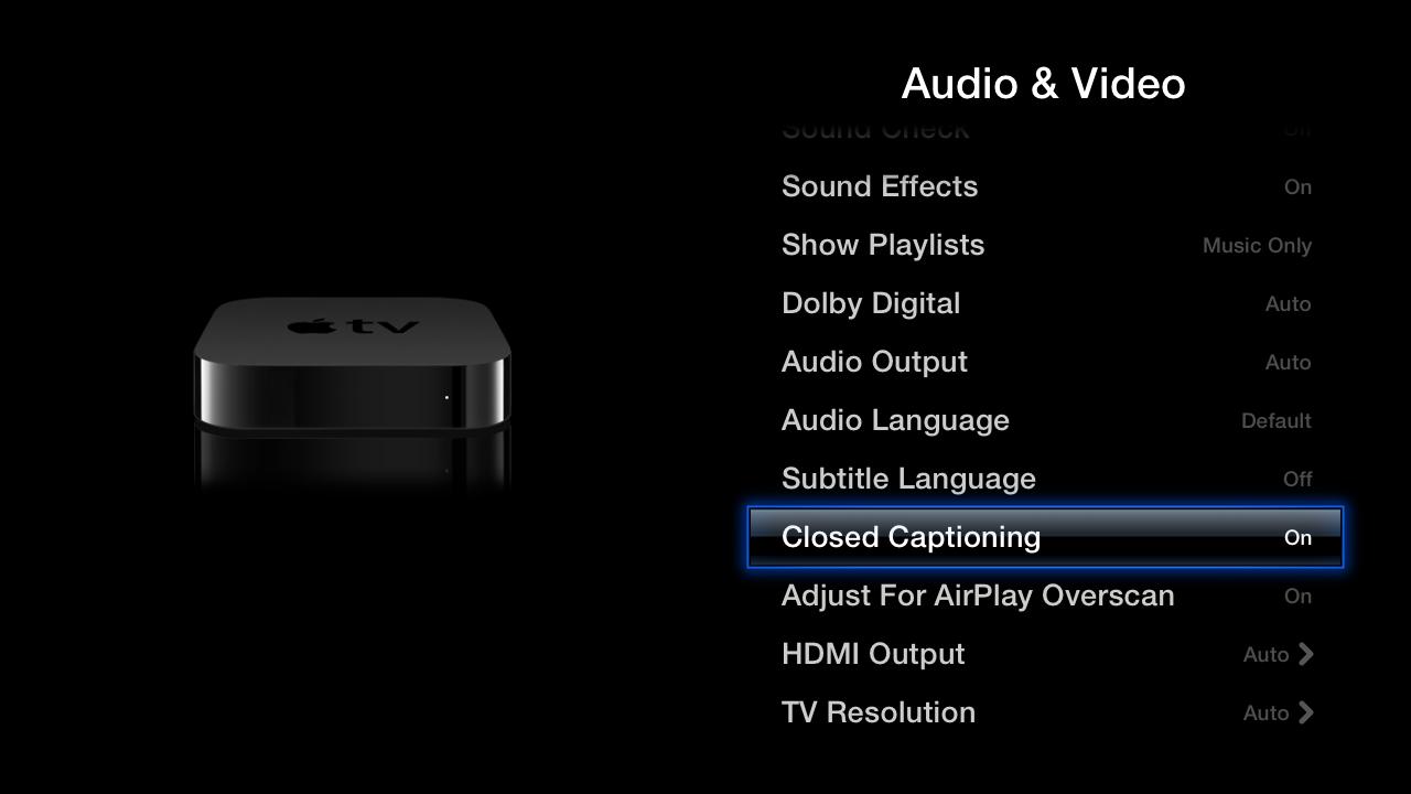 Apple TV closed captioning setting