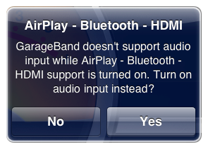 "Image text: ""GarageBand doesn't support audio input.... Turn on audio input instead?"""