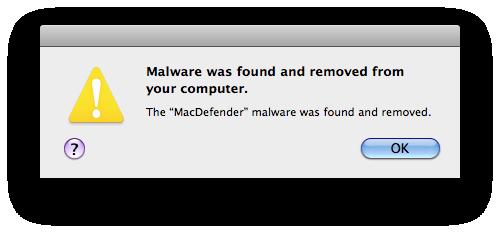 Mensaje que informa de que se ha desinstalado MacDefender.