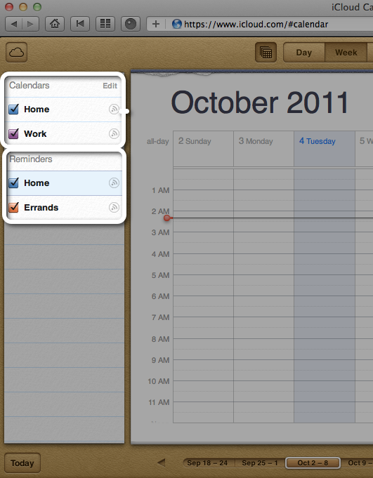Calendar display in iCal