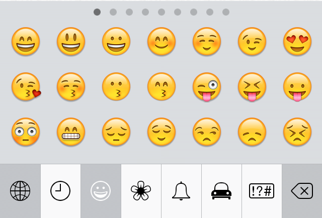 You can switch emoji themes by tapping the icons along the bottom of ...