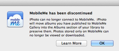 MobileMe has been discontinued. iPhoto can no longer connect to MobileMe. iPhoto will move albums you have published to MobileMe Gallery into the Albums section of your library to preserve them. Photos stored on MobileMe can no longer be viewed or downloaded.