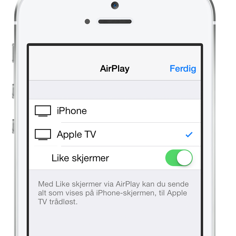 iOS: Bruke Like skjermer via AirPlay