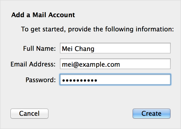 how to create a email address and password