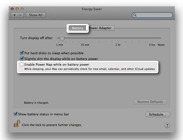 power adapter battery settings