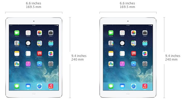 iPad Air có cạnh viền mỏng, màn hình 9.7 inch, Cao 24cm, rộng 16.9cm