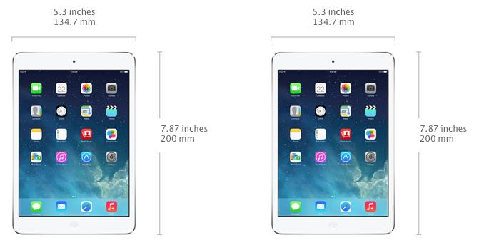 Màn hình 7.9 inch, Cao 20cm, rộng 13.47cm