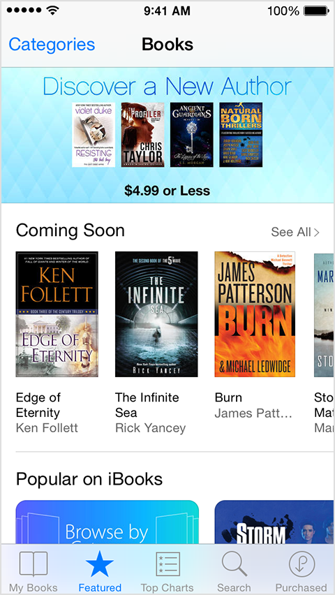 iBooks Store showing recommended books