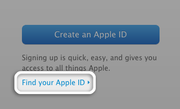 Click Find your Apple ID