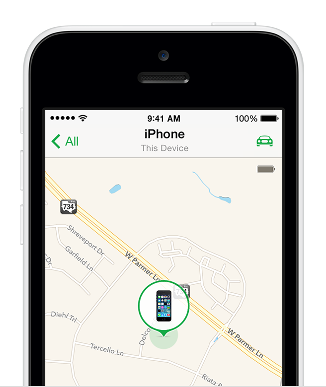 Find My iPhone app open on iPhone