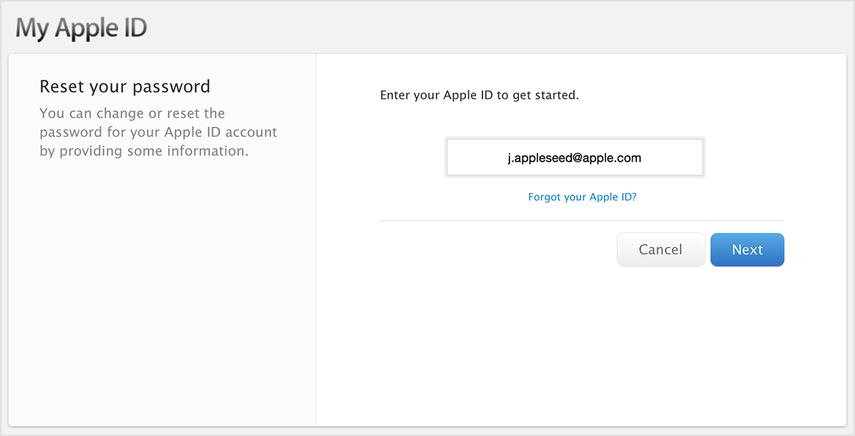 Enter your Apple ID screen