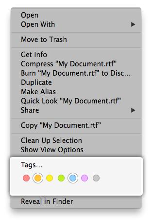 tags contextual menu