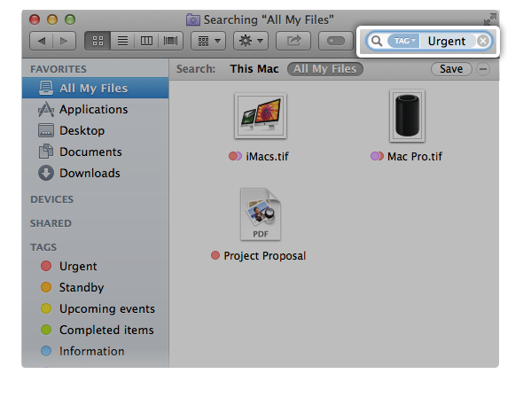 search by tags in the Finder