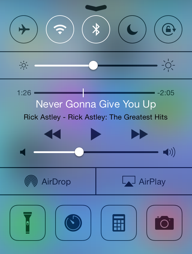 Control Center playing Never Gonna Give You Up
