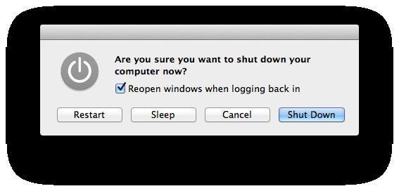 Apple Mac Shut down Dialog