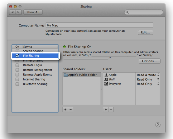 OS X: How to connect with File Sharing using SMB - Audio