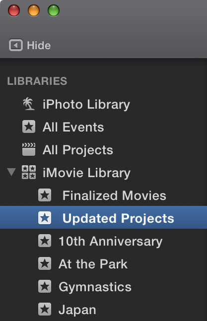Updating projects and events from previous versions of imovie
