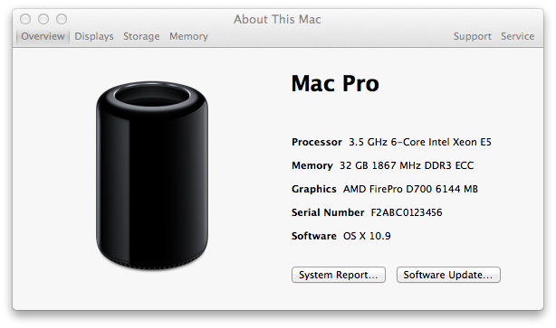 Mac Pro (Late 2013): How to find the serial number - Audio Perception