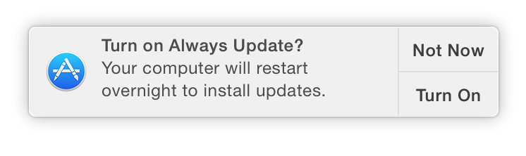 the Always Update notification banner in Yosemite