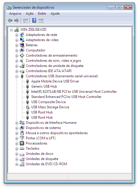 controladores usb barramento serial universal windows 7