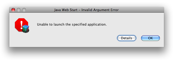 Java Web Start — Invalid Argument Error; Unable to launch the specified