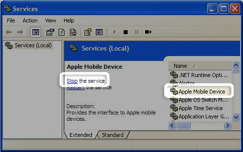 Select Apple Mobile Device and Stop the service