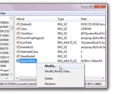 On the right side of the Registry Editor window, right-click the