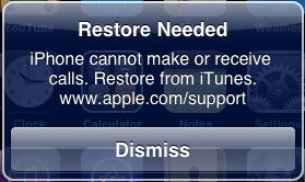 Help - error message 'Restore Needed  iPhone cannot make or