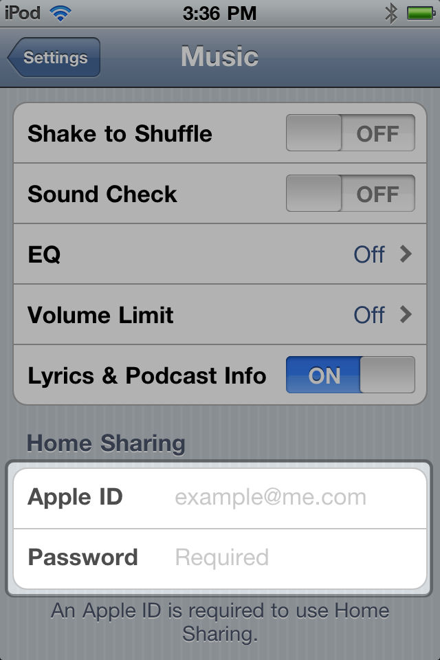 Settings > Music on iPod touch running iOS 4.3.x