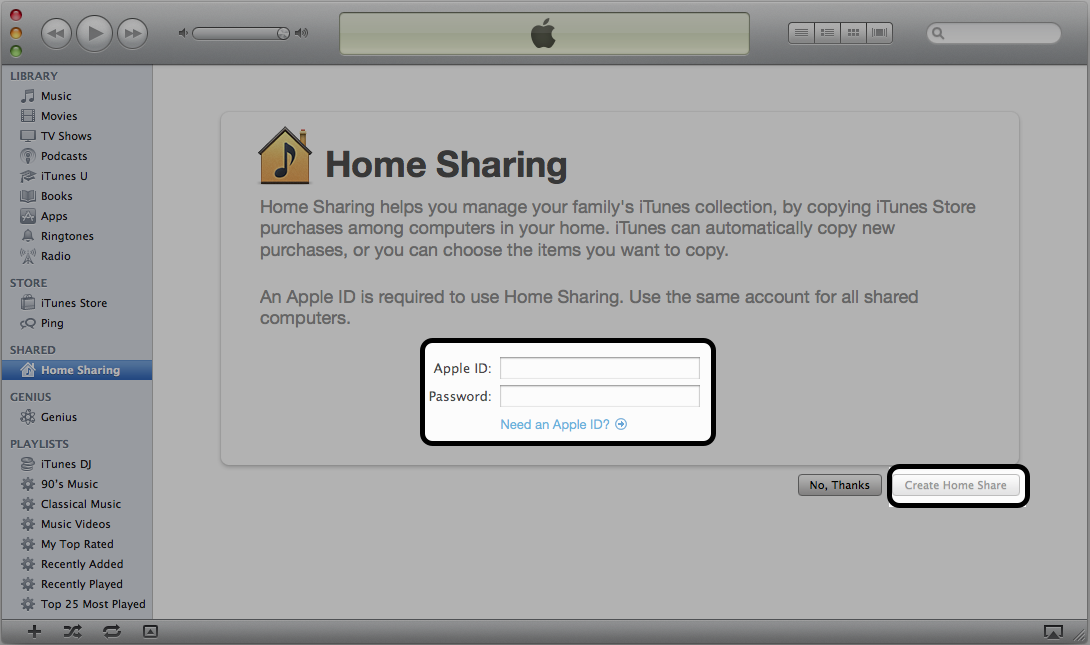 Where to enter your Apple ID and the Create Home Share button in iTunes