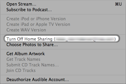 Advanced > Turn off Home Sharing (Apple ID) in iTunes 10.1 or later
