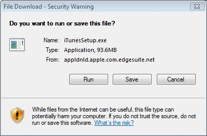 "File Download window text: ""Do you want to run to save this file?"""