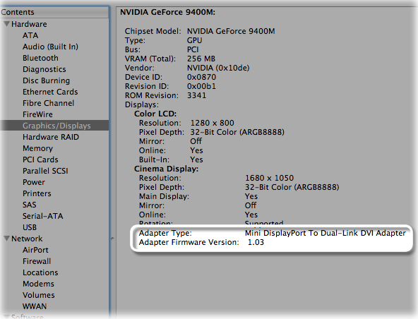 Adapter firmware version displayed in System Profiler