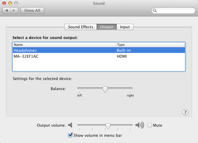 Sound preference for Mac mini with headphones plugged in