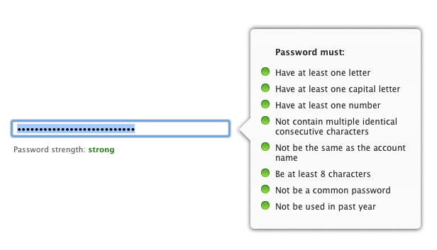 Strong password rules