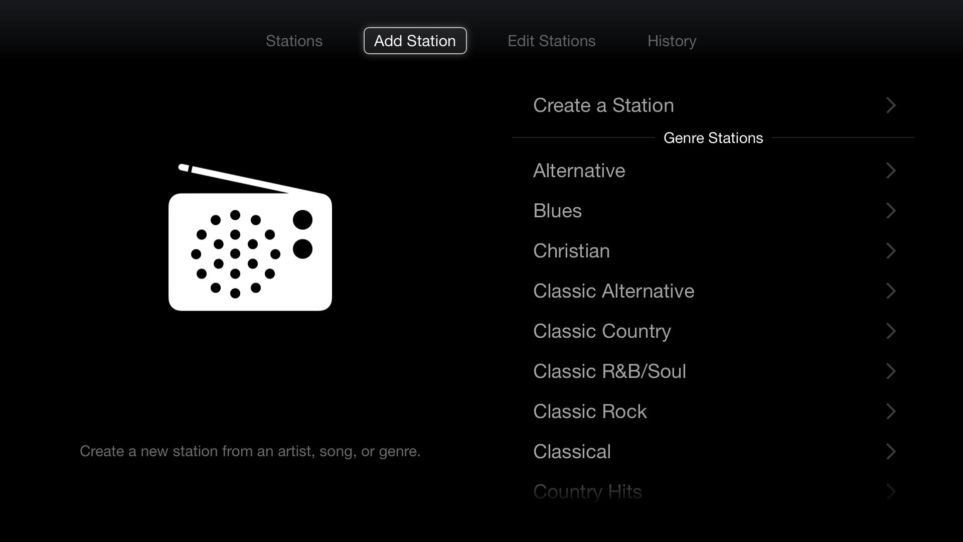 iTunes Radio create a station options
