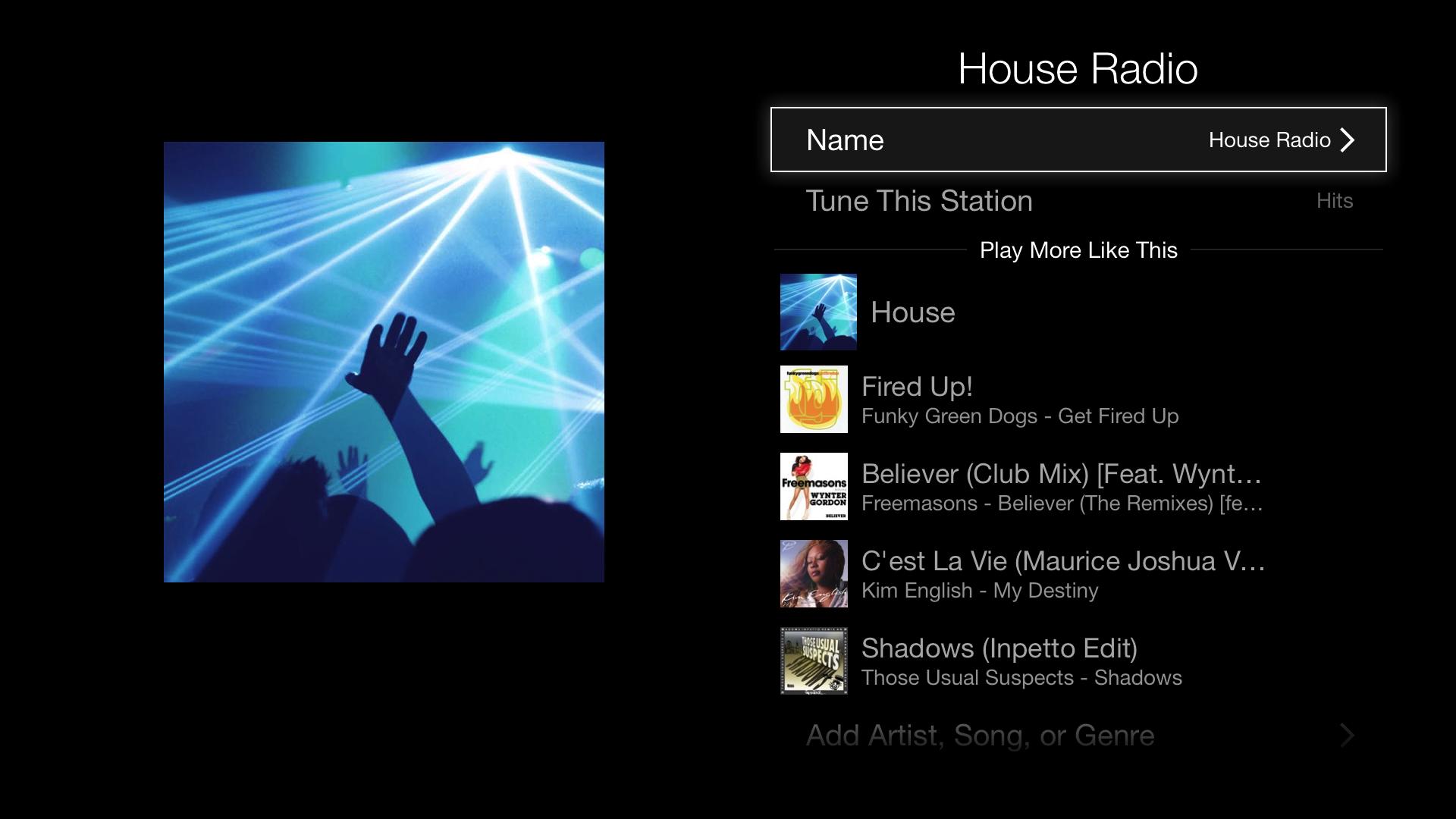 House radio station on iTunes Radio