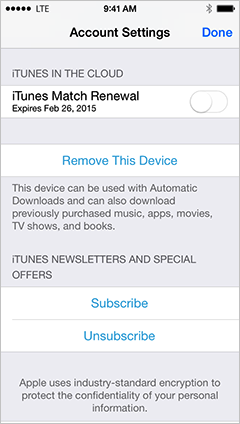 What is itunes match renewal